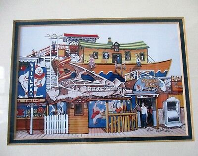 Old Orchard Beach Maine, Framed Under Glass Now Gone Amusement Park Rides