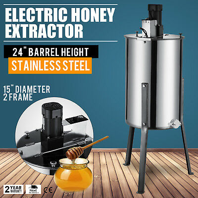 """2 Frame Electric Honey Extractor 2"""" Outlet 2 Clear  Lids Stainless Steel GREAT"""