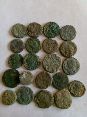 078.Lot of 21 Ancient Roman Bronze Coins,Uncleaned