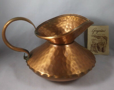 Vintage 1960's Gregorian Copper Signed Hand Crafted Squat Pitcher Calif USA