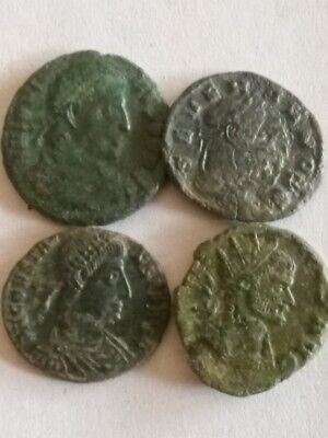 081.Lot of 4 Ancient Roman Bronze Coins,Severus II,Jovianus,Claudius Got.,Const.