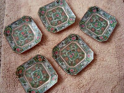 Five (5) Small Very Old Octagonal Chinese Rose Medallion Unmarked Plates