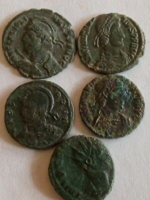 083.Lot of 5 Ancient Roman Bronze Coins,Fine