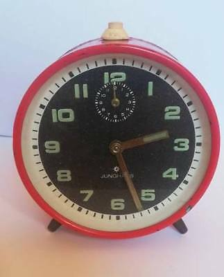 Rare Big Vintage JUNGHANS old Alarm Clock yantar Mechanical