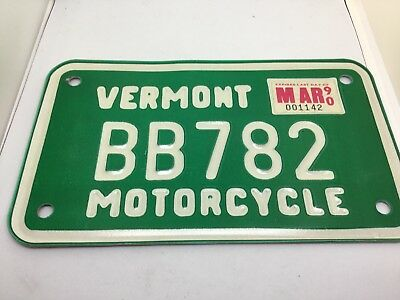 Vintage Motorcycle License Plate 1990 Vermont 90 BB782 CLEAN