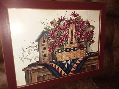 "Birdhouse Basket Picture Print by Laurie Korsgaden 14 X 18"" Wood Frame"