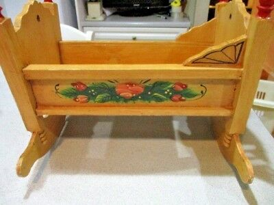 Wooden Hand Painted Vintage Baby Doll Cradle