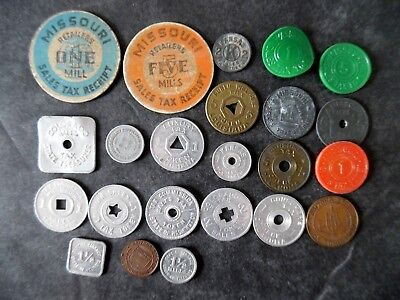 Lot of 23 Different 1930s Depression Era State Tax Tokens