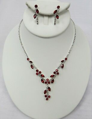 Silver Red Rhinestone Crystal Necklace Set Wedding Bridal Pageant Dance # 18075