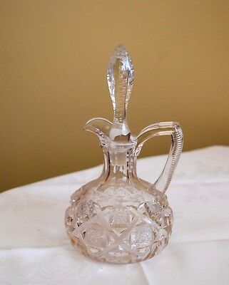 Cruet Victorian Antique Early American Pattern Glass Original Stopper