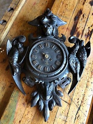 Antique French Cast Iron Key Wound Hunters Game Wall Clock, Original