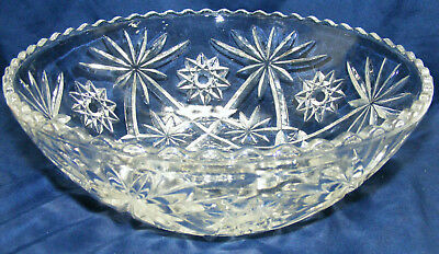 vintage ANCHOR HOCKING Star of David LARGE serving bowl Prescut EAPC clear glass