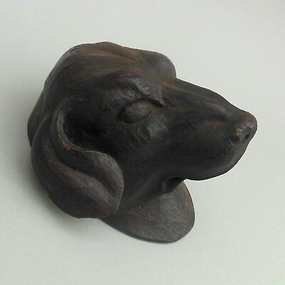 Vintage / Antique Hand Carved Wooden Dog's Head ~ 10 cm long ~ Black Forest?