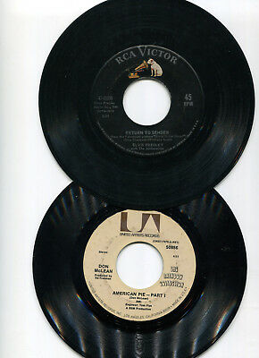 (88) 45 Rpm Records Of 1950's-1970's Pop Hits - All Listed & Tested (No Sleeves)