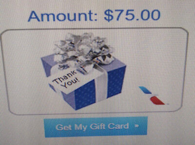 $75 American Airlines Virtual Gift Card Free Ship & No Exp. Date