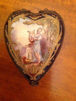 Sevres style Porcelain Hinged Trinket Box French 19th century