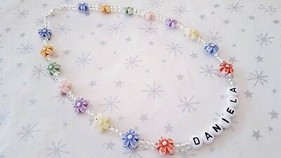 Personalised Childs Necklace With Flower Beads