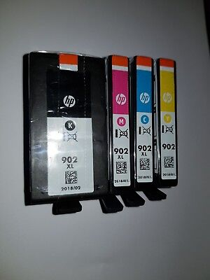 Genuine Unused HP 902 XL Ink Cartridges x 4 Black Cyan Magenta Yellow - 902 2018