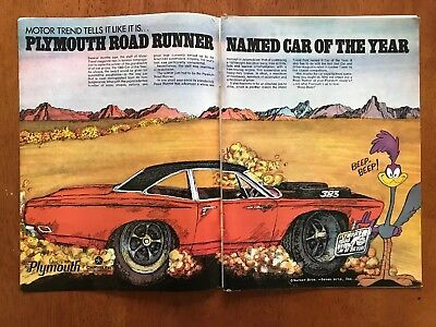 1969 Plymouth Road Runner-Motor Trend-Car Of The Year-2 Page Ad Beep-Beep!