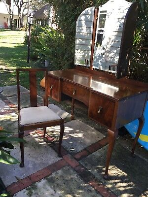 Beautiful Antique Dressing Table with Mirrors & Chair