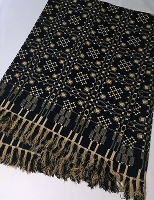 """Antique Woven Coverlet Deep Blue & Beige 75"""" x 80"""" with 3"""" Fringe No Cutter"""