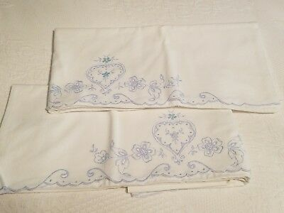 Vintage Pair of Blues White Embroidered Openwork PillowcasesHearts Flowers