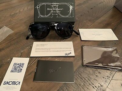 fbcfb02bb69326 NWT - PERSOL Steve McQueen 714-SM 95 S3 54 21 Polarized Black Folding