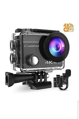 Crosstour 4K 16MP Action Camera WiFi Waterproof with External Microphone and 2