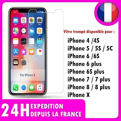 iPhone SE 6 8 7 6S  X 5  PLUS .Vitre protection VERRE trempé Film  écran