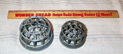 2 Vintage Metal Cage Flower Arranging Frogs Different Sizes