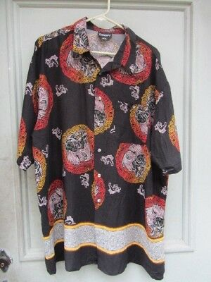 Killer Vtg Asian Foo Dog Lion Chinese Hawaiian Shirt Classic Tiki Luau Xxl N/r