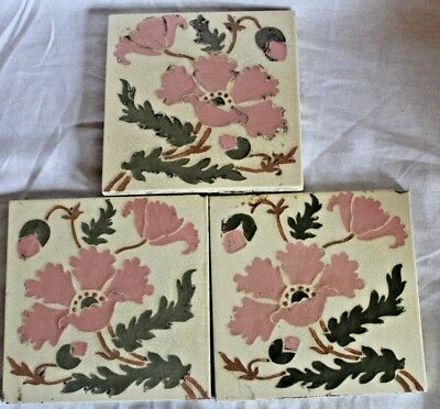 3 x Lot of Victorian Pottery Tiles - Floral Ceramic Antique Marked LT England