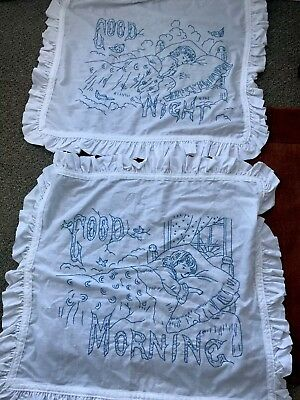 2 Antique Blue work Embroidered Pillow Shams - Good Morning, Good Night Girl