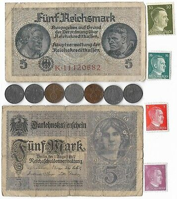 Rare Old WWII Great War German Reich Note Stamp Coin Vintage Collection Lot WW2