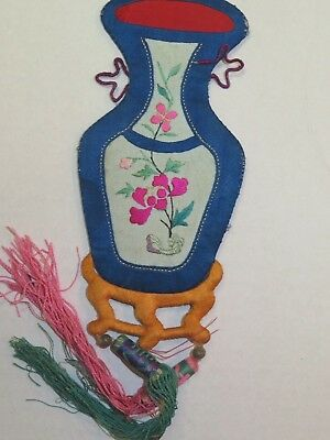Nice Antique Chinese Embroidery Hanging of a Vase and Stand with Flower Design