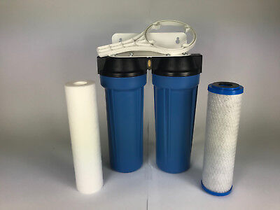 """Water Filter System 10"""" x 2.5"""" inc Carbon + Sediment Cartridge (USA Made)"""