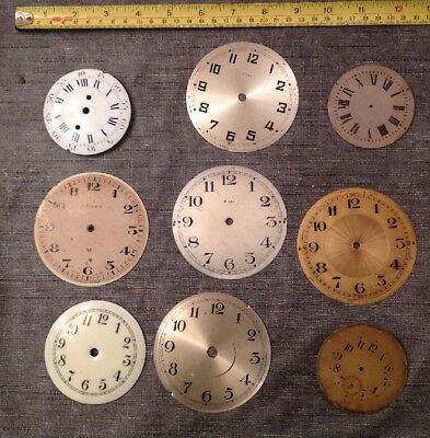 Antique Clock Dials Faces 3 Enamel Left 3 Brass Right Ex Clockmakers Spare Part