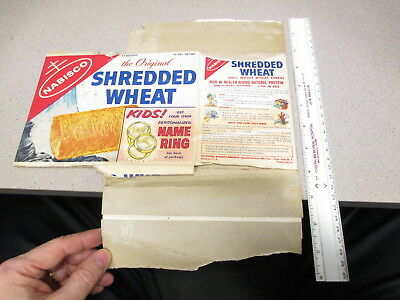 cereal box NABISCO 1950s Shredded Wheat kid child premium ring personalized