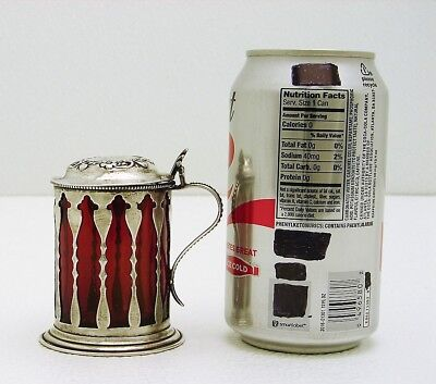 Cut-out Sterling Silver Jam Pot with Ruby Glass Liner Hinge Pin Lid Marked