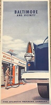 Rare Vintage Atlantic Gas Station Baltimore Maryland Map Oil Company Advertising