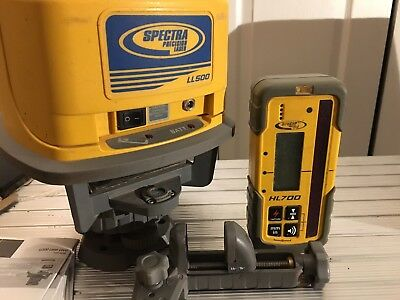 Spectra Precision LL500 Laser Level w/ HL700 Receiver, Tripod, case, and extras