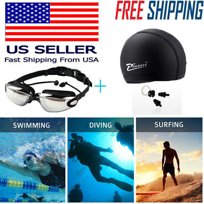 Swimming GOGGLES Glasses UV Protection Anti Fog Swim CAP Ear Nose PLUGS Pool SET