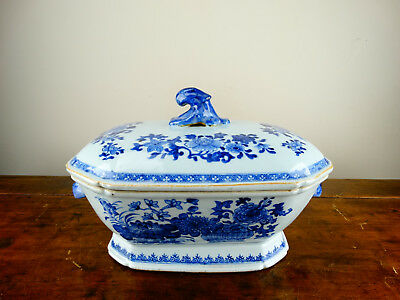 Antique Chinese Export Porcelain Tureen Bowl 18th Century Blue & White Qianlong