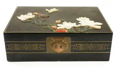 Chinese Carved Wood Jewelry Box With Stone Inlay