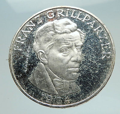 1964 AUSTRIA with Writer Franz Grillparzer Proof Silver 25 Schilling Coin i74746