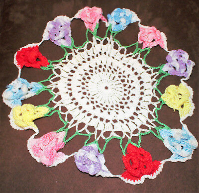 Vintage Hand Crocheted Doilie White with Pansies Blue Purple Pink Yellow Red 12""