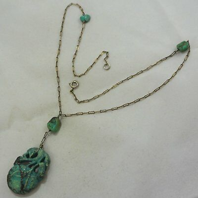 Vintage Chinese Sterling Silver Carved Turquoise Peach Fruit Fancy Link Necklace