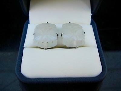 Pair Of Antique Chinese Silver & White Jade Butterfly Earrings