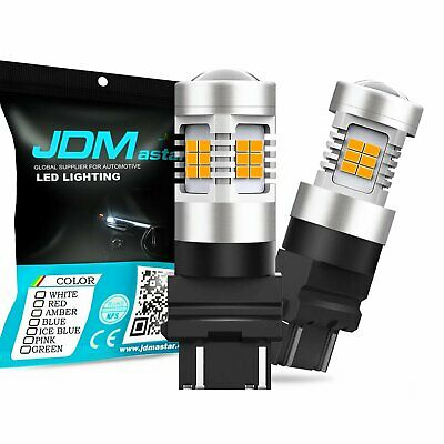 2x Amber Yellow 3157 21-SMD LED Light Bulbs For Car Turn Signal Side Marker 3156