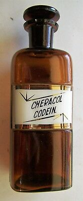 Cheracol Codeine apothecary bottle glass label & stopper Controlled Drug Opioid